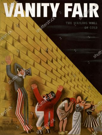 Vanity Fair June 01, 1933 Magazine Cover featuring: At the Wailing Wall of Gold - a group of figures representing different countries wailing at a wall of gold bars.