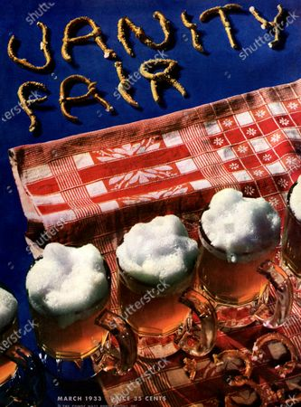 Vanity Fair March 01, 1933 Magazine Cover featuring: Mugs of beer and Vanity Fair spelled out with pretzels on red and white tablecloth.