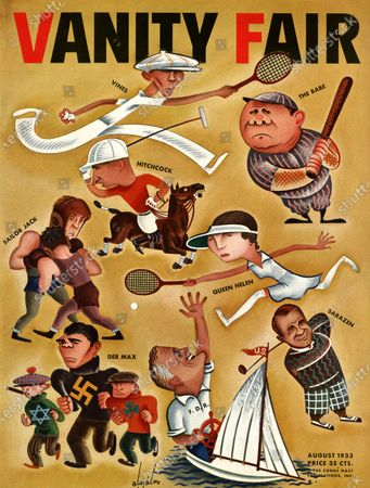 Vanity Fair August 01, 1933 Magazine Cover featuring: In the Good Old Summertime - caricatures of popular athletic champions. Toyohara Kunichika
