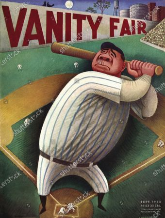 Vanity Fair September 01, 1933 Magazine Cover featuring: The Babe - Babe Ruth swinging. Babe Ruth