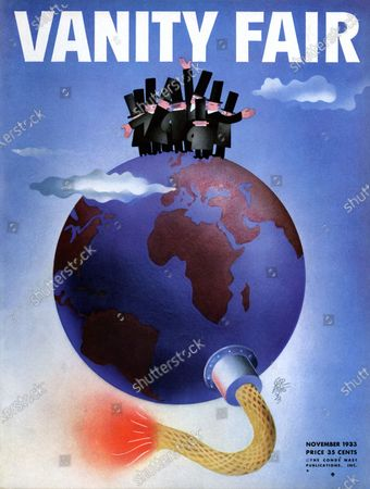 Vanity Fair November 01, 1933 Magazine Cover featuring: Disarmament Conference - politicians standing on top of the globe with burning wick at the bottom.