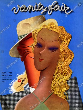 Stock Picture of Vanity Fair July 01, 1935 Magazine Cover featuring: The Belle of the Beach - collage of man in suit learing at bathing beauty.