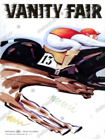 Vanity Fair September 01, 1935 Magazine Cover featuring: Maybe Omaha - jockey and horse. Maybe Omaha