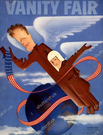Stock Photo of Vanity Fair October 01, 1935 Magazine Cover featuring: Caricatures of the Lindberghs in flight uniforms.
