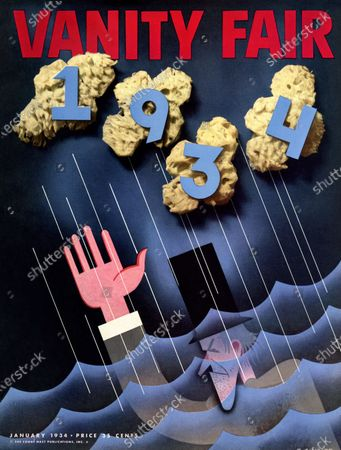 Vanity Fair January 01, 1934 Magazine Cover featuring: Going Down for the Last Time - Uncle Sam sinking in waves during thunderstorm.
