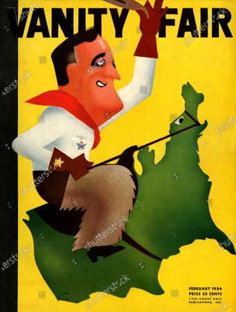 Vanity Fair February 01, 1934 Magazine Cover featuring: Breaking in a Continent Illustration of Roosevelt riding the U.S. like a horse. Franklin D. Roosevelt