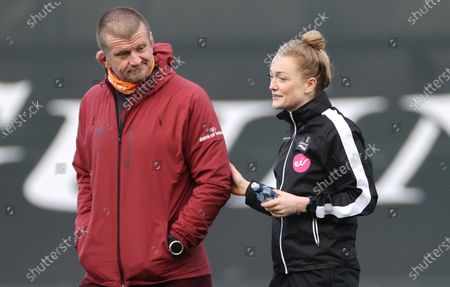 Munster vs Benetton Rugby. Munster forwards coach Graham Rowntree and referee Hollie Davidson