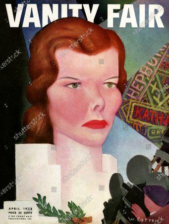 Vanity Fair April 01, 1934 Magazine Cover featuring: Katharine Hepburn. Katharine Hepburn