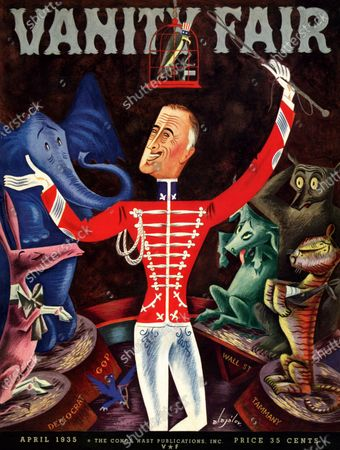Stock Image of Vanity Fair April 01, 1935 Magazine Cover featuring: America's Ringmaster - Roosevelt in ringleader's outfit surrounded by mesmerized animals.