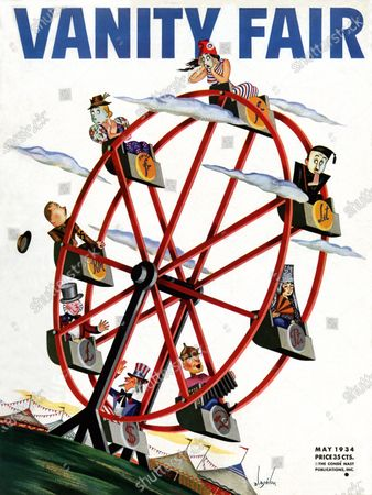 Vanity Fair May 01, 1934 Magazine Cover featuring: Ups and Downs in World Currencies - figures representing various countries of the world on ferris wheel.
