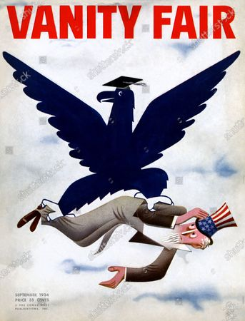 Vanity Fair September 01, 1934 Magazine Cover featuring: Under the Blue Eagle - Uncle Sam being carried by blue eagle with mortar board.