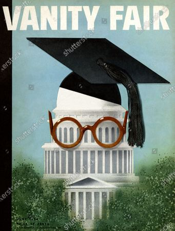 Vanity Fair June 01, 1934 Magazine Cover featuring: The Brain Trust and the Capitol - the Capitol wearing mortar board and glasses.