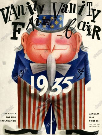 Vanity Fair January 01, 1935 Magazine Cover featuring: Uncle Sam. Uncle Sam