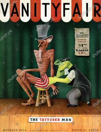 Vanity Fair October 01, 1934 Magazine Cover featuring: The Tattooed Man - Uncle Sam being tattooed by student in graduation outfit.
