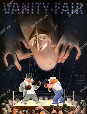 Vanity Fair March 01, 1935 Magazine Cover featuring: American Puppet Show - Roosevelt over an aristocrat and blue-collar worker boxing, manipulating them with strings.