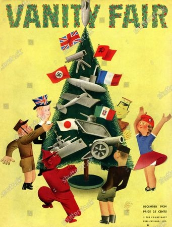 Vanity Fair December 01, 1934 Magazine Cover featuring: Peace on Earth, Good Will Towards Men - children representing differrent countries around a Christmas tree decorated with flags and weapons.