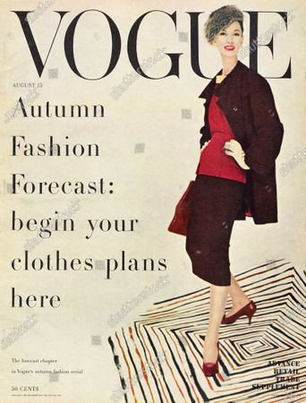 Vogue August 15, 1955 Magazine Cover featuring: Model Barbara Mullen in knee length black skirt with red top, fur trimmed and black jacket. Barbara Mullen