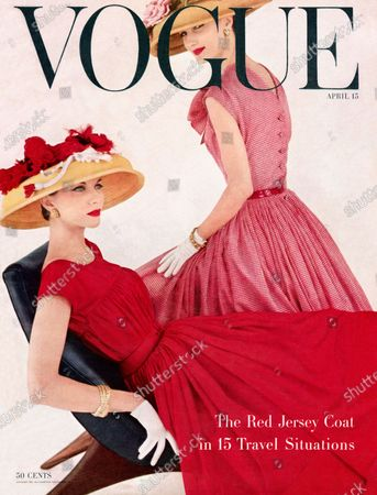 Vogue April 15, 1956 Magazine Cover featuring: One woman reclining in red dress and straw hat and one woman in red checked dress and straw hat. Pictured: models Joan Friedman and Evelyn Tripp. Joan Friedman, Evelyn Tripp