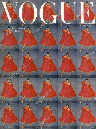 Vogue December 01, 1954 Magazine Cover featuring: 25 frames of the same fashion shot-woman in pink dinner dress with red jacket.