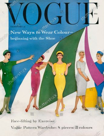Vogue February 15, 1959 Magazine Cover featuring: Five woman in different colored versions of the same dress, standing among different colored panels. Holly Henry, Sylvia Lopez
