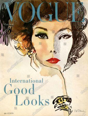 Vogue March 15, 1958 Magazine Cover featuring: Illus. of woman (model Nina de Voe) with head on chin. Nina de Voogd
