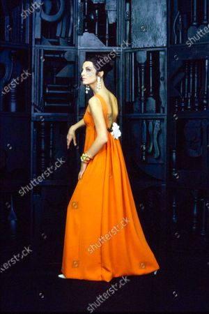 Three quarter back view of a model in front of a Louise Nevelson sculpture at the Pace Gallery, wearing a low back gown in tangerine, with an Empire bodice and a white corsage flower on the back waist, by Dominic for Matty Talmack, with drop earrings by Apex Art.