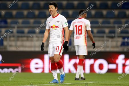 Hee Chan Hwang of Leipzig reacts during the German Bundesliga soccer match between DSC Arminia Bielefeld and RB Leipzig at Schueco Arena in Bielefeld, Germany, 19 March 2021.