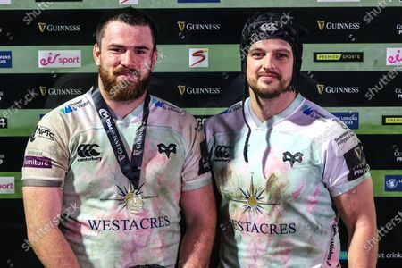 Leinster vs Ospreys. Ospreys' Morgan Morris is presented with the Guinness PRO14 Player of the Match award by Dan Evans