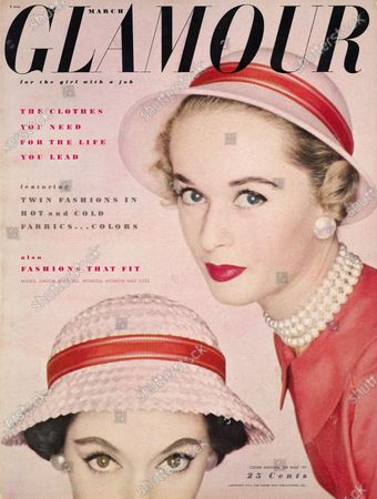 Glamour March 01, 1953 Magazine Cover featuring: Close-up of two models, blonde Tippi Hedren and Barbara Mullen in pink hats with red bands by Gage and faux pearl earrings by Coro. Barbara Mullen