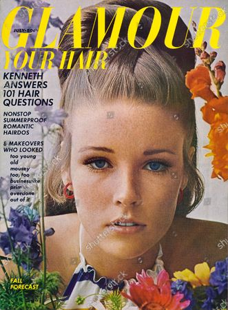 Glamour July 01, 1966 Magazine Cover featuring: Lisa Palmer wearing Dynel hairpiece, Germain Monteil makeup, red hoop earrings by Roger Van S., and colorful halter top by Edie Gladstone for Deebs. Lisa Palmer