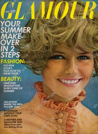 Glamour May 01, 1968 Magazine Cover featuring: Cheryl Tiegs wearing California Girl makeup by Clairol and silky apricot broadcloth dress with ruffled throat by Kasper for Joan Leslie. Cheryl Tiegs