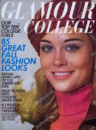Glamour August 01, 1969 Magazine Cover featuring: Cybill Shepherd in red knit Jane Irwill sweater, Outer Ltd. raincoat, and red beret by Symphony Scarfs. Cybill Shepard