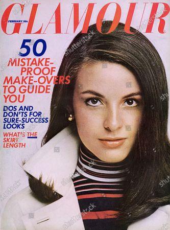 Glamour February 01, 1967 Magazine Cover featuring: Yaffa Turner wearing makeup by Azizza, Angel Face, and Cutex, and jacket and turtleneck by Ginori Sportswear Ltd. Yaffa Turner