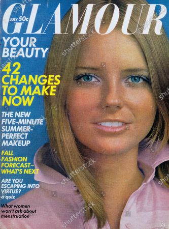 Glamour July 01, 1969 Magazine Cover featuring: Cheryl Tiegs in pink cotton shirt by Jones New York. Cheryl Tiegs