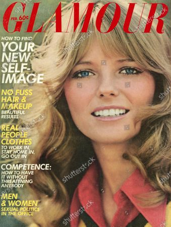 Glamour February 01, 1972 Magazine Cover featuring: Cheryl Tiegs wearing Almay makeup, red Gregory & Goldberg shirt, and knitted yellow-and-black sweater. Cheryl Tiegs