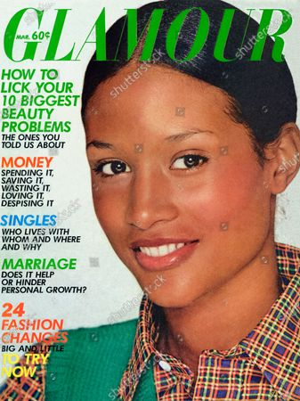 Glamour March 01, 1972 Magazine Cover featuring: Beverly Johnson wearing Ultima II makeup by Charles Revson, plaid Gloria Sachs shirt, and green knit vest. Beverly Johnson