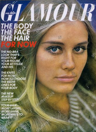 Glamour January 01, 1970 Magazine Cover featuring: Cybill Shepherd wearing Cover Girl makeup and V-neck sweater by Ladybug. Cybill Shepard
