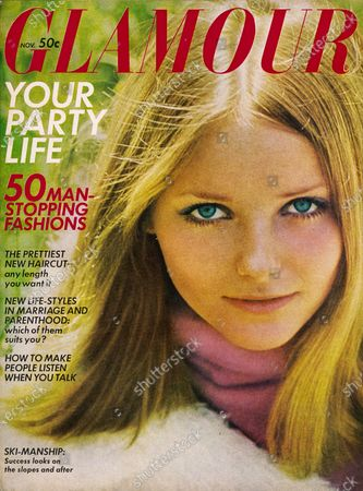 Glamour November 01, 1968 Magazine Cover featuring: Cheryl Tiegs wearing Charles of the Ritz makeup. Cheryl Tiegs