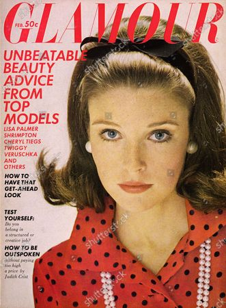 Glamour February 01, 1968 Magazine Cover featuring: Lisa Palmer wearing Elizabeth Arden makeup, pearl-like earrings and necklace by Marvella, red-and-black polka-dot silk shirt by Chuck Howard, and black ribbon in hair. Lisa Palmer