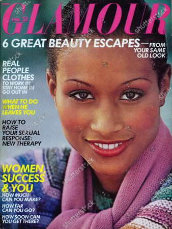 Glamour February 01, 1975 Magazine Cover featuring: Beverly Johnson wearing Helena Rubinstein makeup, Outlander sweater, and Symphony nine-foot scarf. Beverly Johnson