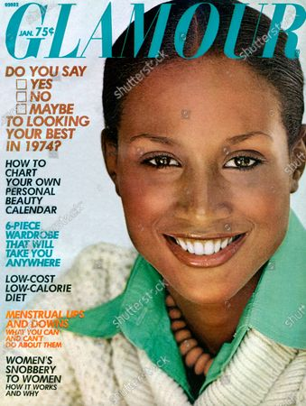 Glamour January 01, 1974 Magazine Cover featuring: Model Beverly Johnson in green Wayne Rogers silk shirt, pullover by Paige One, and Michael Moaux necklace. Beverly Johnson