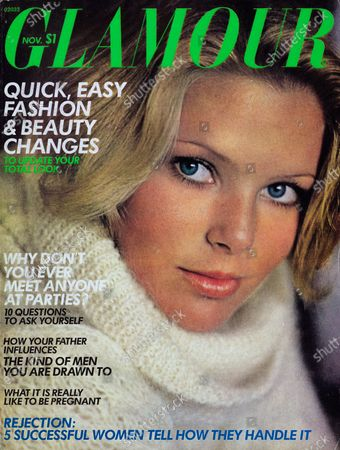 Stock Picture of Glamour November 01, 1975 Magazine Cover featuring: Christie Brinkley wearing Elizabeth Arden makeup and cowl-neck sweater by Rosanna. Christie Brinkley