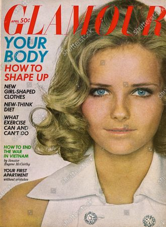 Glamour April 01, 1968 Magazine Cover featuring: Cheryl Tiegs wearing a white linen halter dress with rhinestone buttons, by Frank Adams for Junior Accent, with makeup by Helena Rubinstein. Cheryl Tiegs