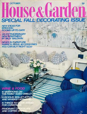 Stock Picture of House & Garden October 01, 1973 Magazine Cover featuring: Magazine cover featuring the living room of a New York City apartment by architect Page Cross and interior designer (William) Billy Baldwin; The room includes a white sofa with throw pillows in geometric motifs, blue denim slipper chairs with ruffle skirts, Warren Platner for Knoll polished steel side tables, a crystal and polished steel coffee table by Joe Martin, and an abstract expressionist painting by Richard Pousette-Dart.