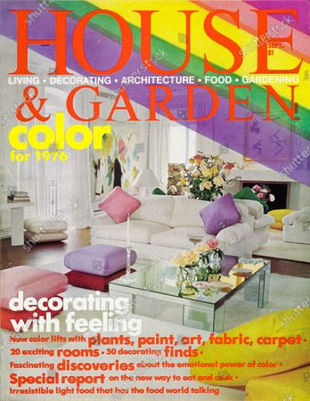 Stock Photo of House & Garden September 01, 1975 Magazine Cover featuring: Color for 1976 issue - House and Garden logo in red superimposed on t and photo of living room with translucent diagonal rainbow strip at upper right: living room of New York apartment; architect, Keith Kroeger; interior designer, Filippa Naess; furniture designed by Ms. Naess and Mark Hampton; white sofas and rug; mirror coffee table; Jim Dine's Heart on wall to left; Yves Kline painting above fireplace.
