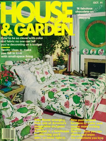 House & Garden October 01, 1978 Magazine Cover featuring: House & Garden sanserif logo in acid lemon yellow, superimposed on a color photograph of a leaf green bedroom with elaborate bedclothes and a matching slipcovered chair in a pink, leaf green and white, giant water lilly-pattern cotton print, enchanced by a pink and white checkerboard floor, ficus tree in the background.