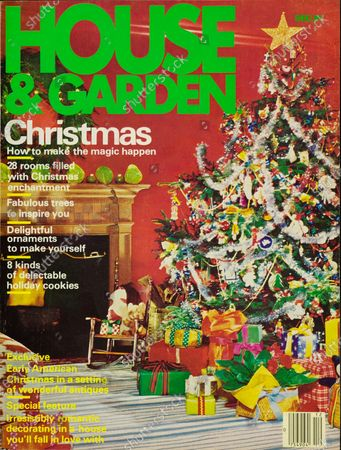 House & Garden December 01, 1978 Magazine Cover featuring: House and Garden logo in green superimposed on photo of Christmas tree in home of interior designer, Mr. and Mrs. Noel Jeffrey: glittery gold stop at treetop.