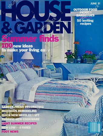 Stock Image of House & Garden June 01, 1978 Magazine Cover featuring: House and Garden logo in dark blue superimposed on photo of bedroom designed by Donghia-Martin Associates: blue walls; bed linens and slip covers, Caberet Stripe by Donghia for Utica Fine Arts by J. P. Stevens; slipper chair by Angelo Donghia.