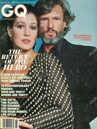 GQ December 01, 1977 Magazine Cover featuring: Singer and actor Kris Kristofferson wearing black shirt with wife Rita Coolidge wearing sheer black top with silver squares. Winter 1977-1978 Issue. Kris Kristofferson, Rita Coolidge