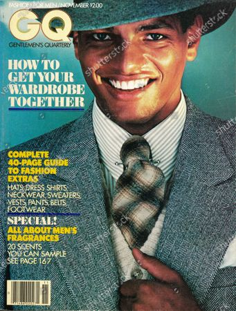 Stock Photo of GQ November 01, 1977 Magazine Cover featuring: Model Urs Althaus wearing a suit by The Arthur Richards Man, a Hathawat shirt, a Berkeley Cravats tie and a collar pin by Gideon Jewelry. Urs Althaus